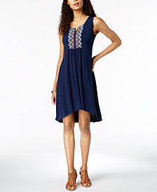 Style & Co Petite Embroidered High-Low Dress, Created for Macy's