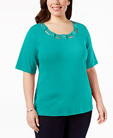 Karen Scott Plus Size Cotton Cutout Top, Created for Macy's