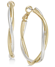 Charter Club Two-Tone Twisted Hoop Earrings, Created for Macy's