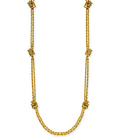 "Charter Club Gold-Tone Double Rope Knotted Statement Necklace, 42"" + 2"" extender, Created for Macy's"