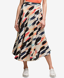 DKNY Belted Linen A-Line Midi Skirt