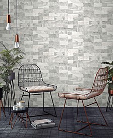 Herringbone Marble Tile White Wallpaper