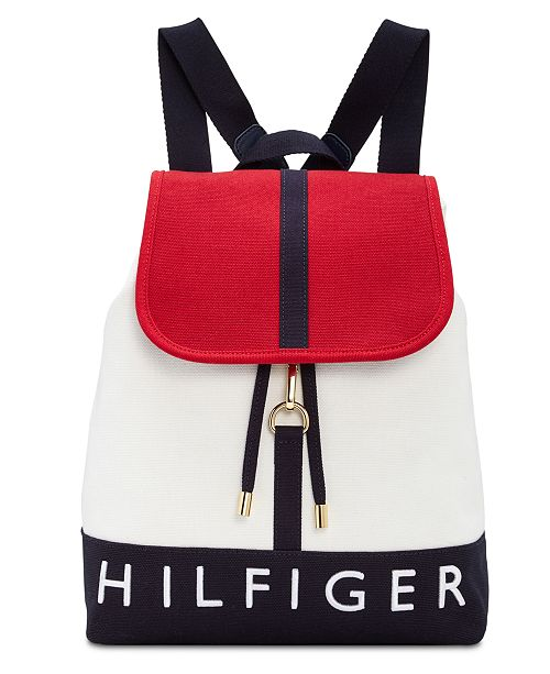 82813327 Tommy Hilfiger Sporty Signature Canvas Flap Backpack. Macy's / Handbags &  Accessories