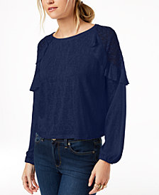 Maison Jules Lace-Shoulder Top, Created for Macy's