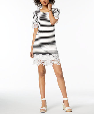Striped Lace Trim Dress, Created For Macy's by Tommy Hilfiger