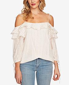 CeCe Cotton Cold-Shoulder Top
