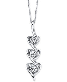"Diamond Triple Heart Drop 18"" Pendant Necklace (3/8 ct. t.w.) in 14k White Gold"