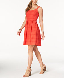 Nine West Embroidered Eyelet Fit & Flare Dress