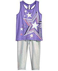 Ideology Little Girls Star-Print Tank & Hologram Capris, Created for Macy's