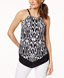 I.N.C. Hardware-Neck Printed Halter Top, Created for Macy's