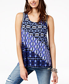 I.N.C. Petite Printed Split-Back Top, Created for Macy's