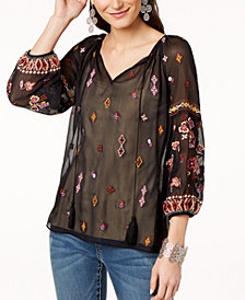I.N.C. Petite Split-Neck Mesh Peasant Top, Created for Macy's