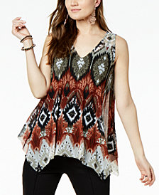 I.N.C. Petite Printed Handkerchief-Hem Top, Created for Macy's