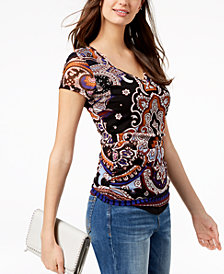 I.N.C. Petite Printed Double-Layer Ruched Top, Created for Macy's