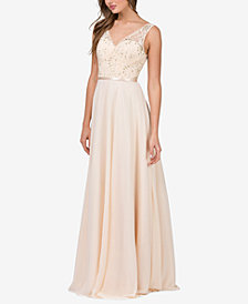 Dancing Queen Juniors' Embellished Lace-Bodice Gown