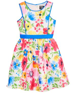 Pink & Violet Little Girls Floral-Print Dress 6222260