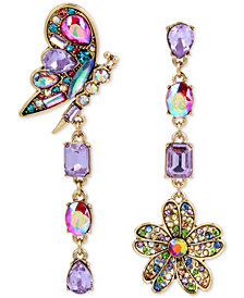 Betsey Johnson Gold-Tone Crystal Butterfly & Flower Mismatch Earrings