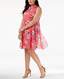 Jessica Howard Plus Size Printed Chiffon Dress