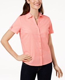 Karen Scott Button-Front Eyelet Cotton Top, Created for Macy's