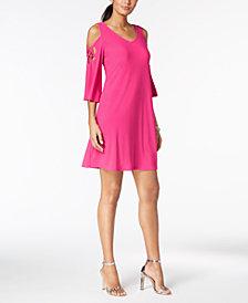 MSK Strappy Angel-Sleeve Cold-Shoulder Dress