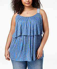 Style & Co Plus Size Printed Flounce Sleeveless Top, Created for Macy's