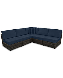 Viewport Outdoor 5-Pc. Modern Modular Seating Set (4 Armless Units and 1 Corner Unit) with Custom Sunbrella® Cushions, Created for Macy's