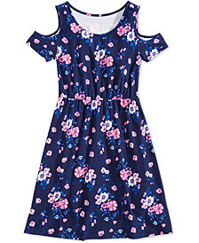 Epic Threads Big Girls Floral-Print Cold Shoulder Super-Soft Dress, Created for Macy's