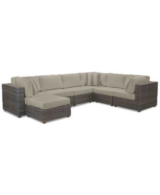 Viewport Outdoor 7-Pc. Modular Seating Set (3 Corner Units, 3 Armless Units and 1 Ottoman) with Sunbrella® Cushions, Created for Macy's