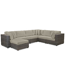 Viewport Outdoor 7-Pc. Modular Seating Set (3 Corner Units, 3 Armless Units and 1 Ottoman) with Custom Sunbrella® Cushions, Created for Macy's