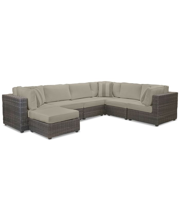 Furniture - Viewport Outdoor 7-Pc. Modular Seating Set (3 Corner Units, 3 Armless Units and 1 Ottoman) with Sunbrella® Cushions