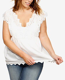 Lucky Brand Trendy Plus Size Cotton Eyelet Top