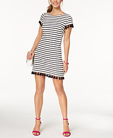 Jessica Howard Petite Striped Tassel Sheath Dress, Regular & Petite