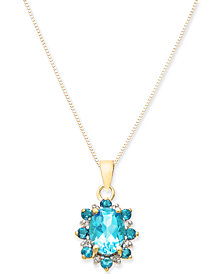 "Blue Topaz (1-1/4 ct. t.w.) & Diamond Accent 18"" Pendant Necklace in 14k Gold"