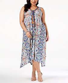 John Paul Richard Plus Size Braided-Trim Maxi Dress
