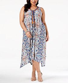 John Paul Richard Plus Size Braided-Trim Maxi Dress