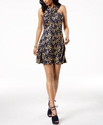 Metallic Print Dress In Regular & Petite Sizes by Michael Michael Kors