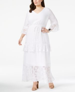 Ny Collection Plus Size Tiered Peasant Maxi Dress 5929645