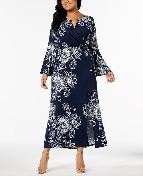 NY Collection Plus & Petite Plus Size Printed Keyhole Maxi ...