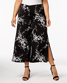 NY Collection Plus & Petite Plus Size Printed Slit-Cuff Culottes