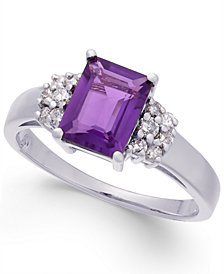 Amethyst (1-5/8 ct. t.w.) & Diamond (1/5 ct. t.w.) Ring in Sterling Silver