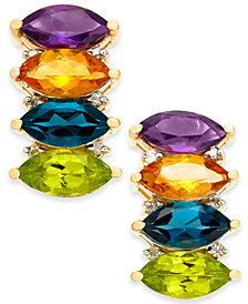 Multi-Gemstone (4-2/3 ct. t.w.) & Diamond (1/10 ct. t.w.) Drop Earrings in 14k Gold