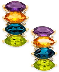 Multi-Gemstone (4-2/3 ct. t.w.) & Diamond (1/10 ct. t.w.) Drop Earrings in 14k Gold(Also Available in Garnet)