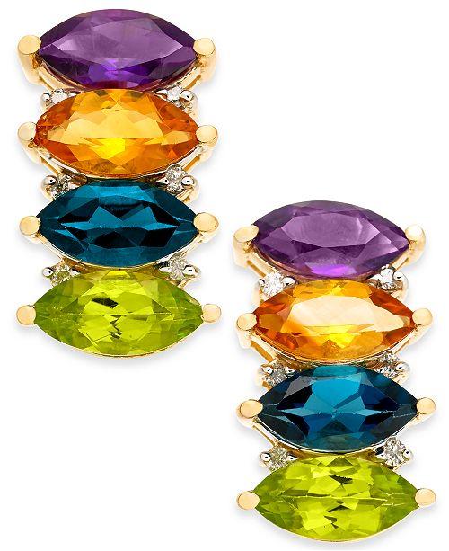 Macy's Multi-Gemstone (4-2/3 ct. t.w.) & Diamond (1/10 ct. t.w.) Drop Earrings in 14k Gold(Also Available in Garnet)