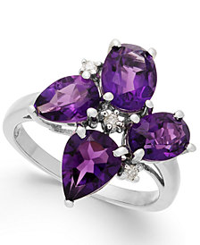 Amethyst (3-7/8 ct. t.w.) & Diamond Accent Ring in Sterling Silver