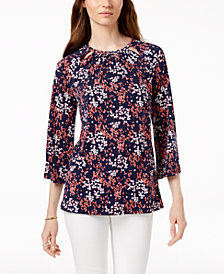 MICHAEL Michael Kors Cutout Floral-Print Top in Regular & Petite Sizes