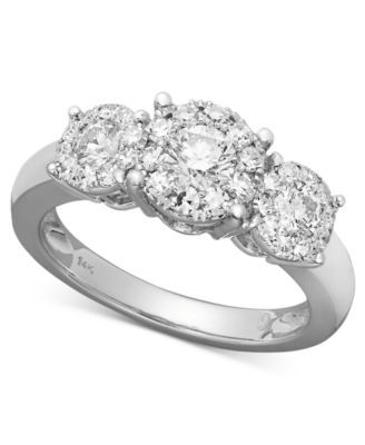 three stone diamond engagement ring in 14k white gold rings jewelry watches macys - Macy Wedding Rings