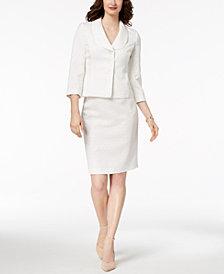 Le Suit Jacquard Three-Button Skirt Suit