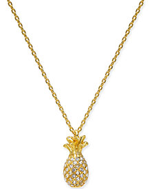"kate spade new york Gold-Tone Pavé Pineapple Pendant Necklace, 17"" + 3"" extender"