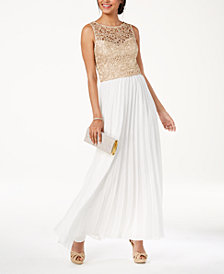 B Darlin Juniors' Shine Lace Pleated-Skirt Gown