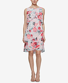 SL Fashions Floral Tiered Chiffon Dress